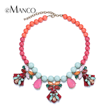 eManco Colorful acrylic beaded necklaces for women collar crystal statement necklace bead choker necklace bisuteria mujer
