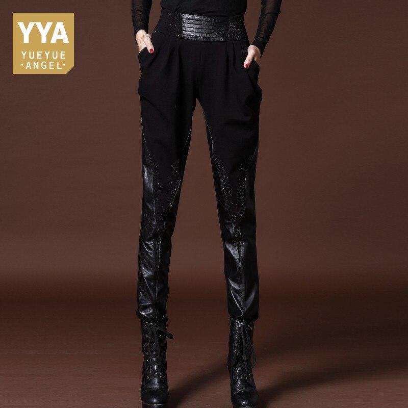 Mode femmes en cuir véritable épissé Harem pantalon bureau dame Sexy taille haute crayon pantalon en cuir véritable grande taille 5XL pantalon