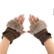 Amaizng Fashion Winter Knitted Faux Fur Fingerless Gloves Women Wrist Soft Warm Mitten Free Shipping