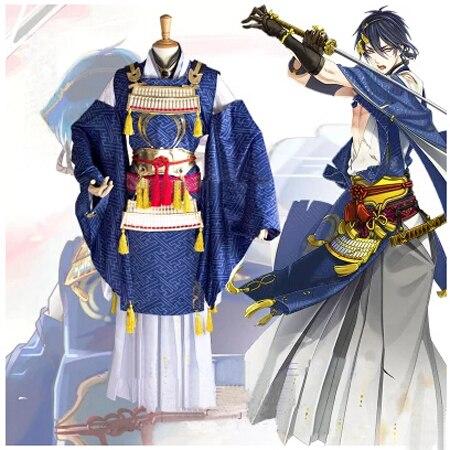 Touken Ranbu en ligne Mikazuki Munechika Costume cosplay guerrier anime vêtements Halloween Costumes pour femmes Kimono Costume avec armure