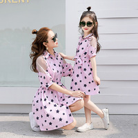 Family Matching Clothes Mother and Daughter Dresses Kids Girls Shirt Dress Children's Star Printed Casual Dress Baby Clothes