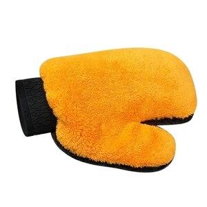 Image 3 - 1Pcs Neue Korallen Fleece Auto Waschen Handschuh Reinigung Mitt Kurze Wolle Mitt Auto Waschen Pinsel Handschuh Tuch Auto Detaillierung werkzeug Grau Orange