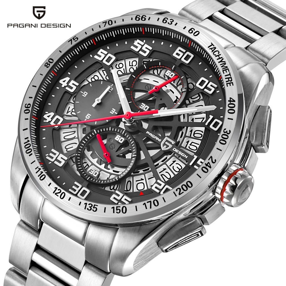 PAGANI DESIGN Outdoor Sport Watch Men Stainless Steel Business Chronograph Mens Watches Top Luxury Brand Clock relogio masculino guanqin mens watches top brand luxury men s business chronograph clock men sport stainless steel quartz watch relogio masculino