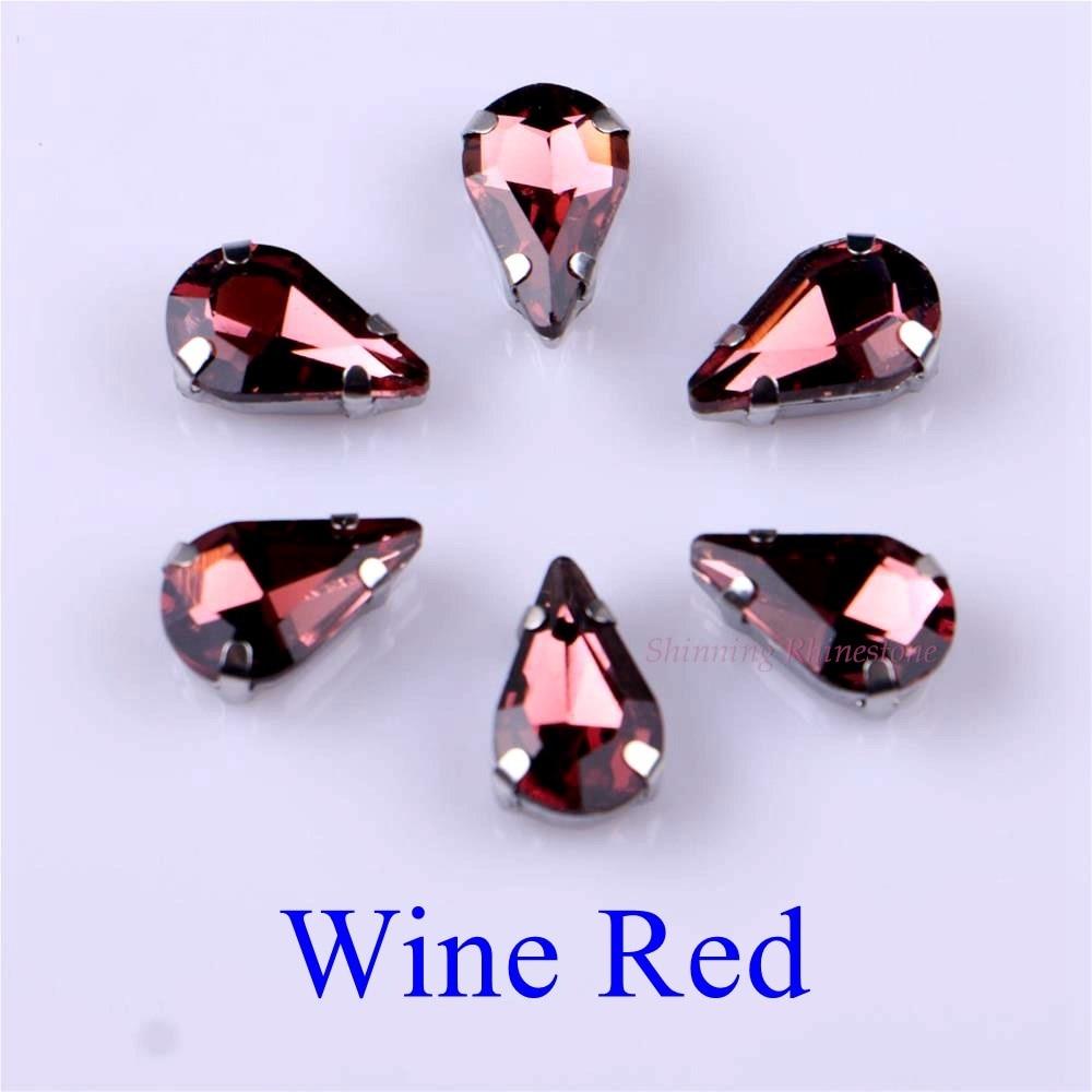 Узкий Каплевидная форма стеклянные стразы с когтями пришить с украшением в виде кристаллов Камень страз с алмазными металлическими Базовая Пряжка 20 шт./упак - Цвет: Wine Red