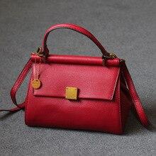 Vintage Women Genuine Leather Messenger Bag Retro Handbag Doctor Bags Top Handle Cross Body Shoulder Bag Purse OL