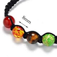 8mm Big Beads 7 Chakra Bracelet Yoga Bracelet Healing Balance Supernatural Lava Reiki Stones Beads Bracelet Women Jewelry