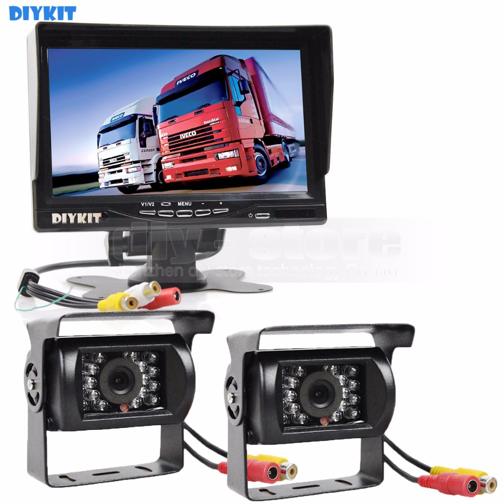 DIYKIT 2 x IR CCD Rear View Car Camera + 7 inch HD TFT LCD Car Monitor Reverse Rear View Monitor Screen Remote Control garrett turbo uk gt1544s 700830 0001 700830 turbo exchange for renault megane scenic laguna espace clio 1 9 dti engine f9q f8q