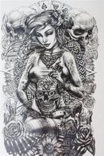 Sexy girl take a skull face Size 22 x 12cm Brand New Body Art tatoo Temporary Tattoo Exotic Sexy Henna Tattoo Tattoo Stickers