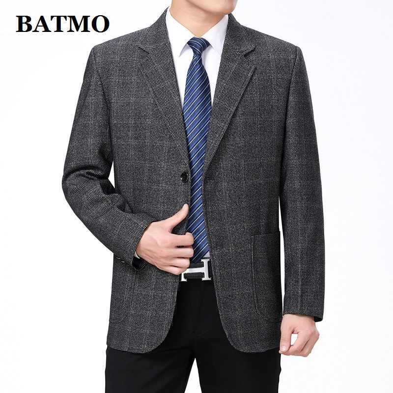 Batmo 2019 new arrival spring high quality plaid smart casual blazer men ,men's plaid casual jackets ,plus-size  55