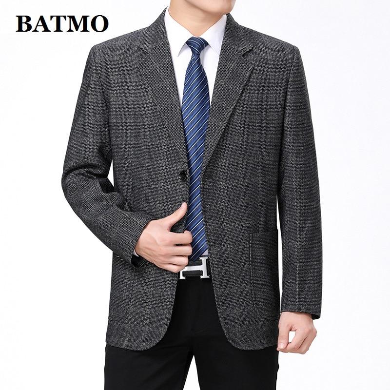 Batmo 2019 New Arrival Spring High Quality Plaid Smart Casual Blazer Men ,men's Plaid Casual Jackets ,plus-size  55
