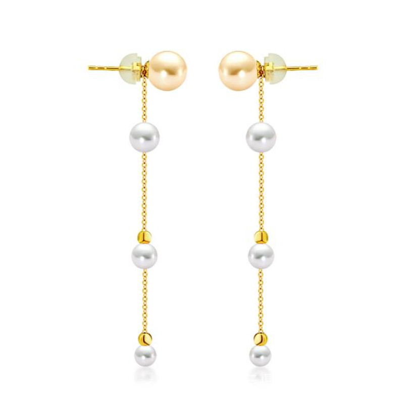 18K Yellow Gold Natural Cultured Freshwater Pearl Drop Dangle Earrings for Women 4 pcs Pearls Pure 18K Rose Gold Jewelry золотое кольцо ювелирное изделие k 24022
