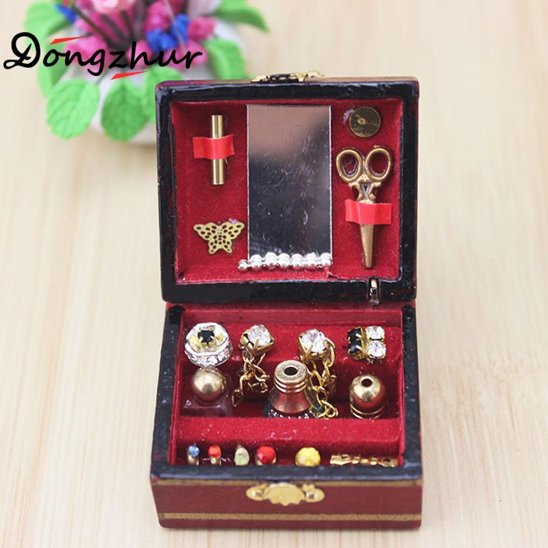 1pc Mini Jewelry Box Model Dollhouse Miniatures 1:12