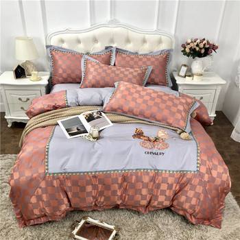 Luxury European Retro Style Horse Embroidery 60S Egyptian cotton Palace Bedding Set Duvet Cover Bed Sheet/Linen Pillowcases 4pcs