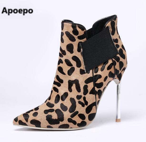 Selling brand New Leopard ladies Boots Sexy Pointed Toe Elastic boots Special Metal High Heel Shoes For Women Ankle Boots 2018 женская юбка brand new 2015 strawberry leopard 3d f e43