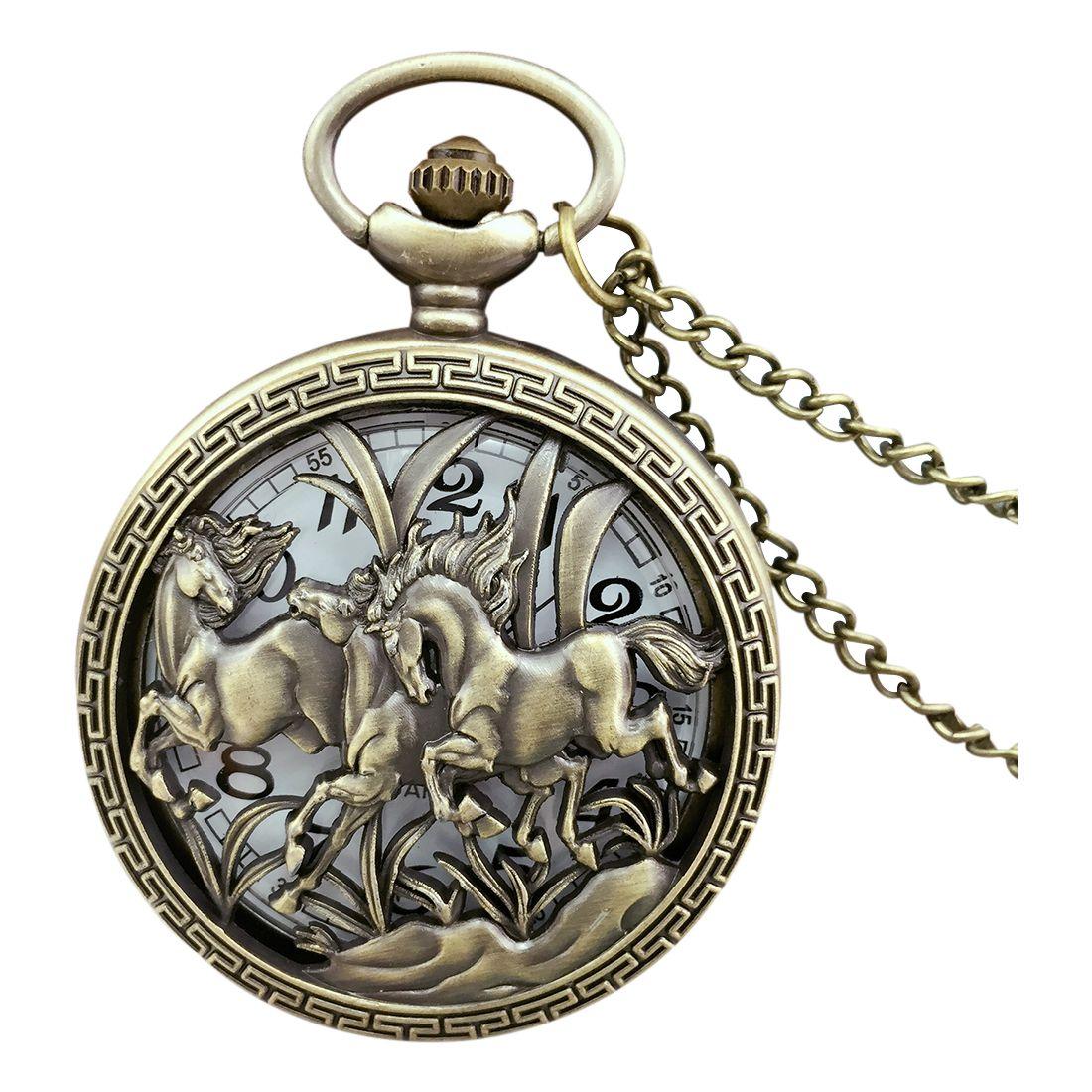 Practical Vintage Hollow Three Horse Quartz Pocket Watch Necklace Chain Pendant