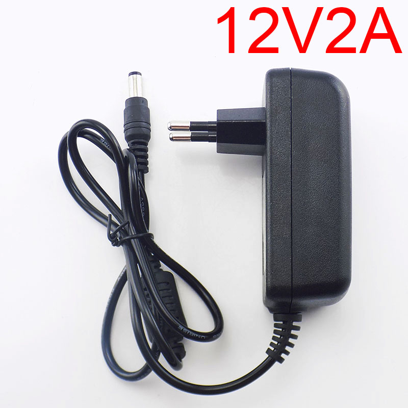 Gakaki AC to DC Power Adapter 100-240V Supply Charger Adapter 12V 2A US EU Plug for CCTV LED Strip Lamp 100pcs us eu uk au plug ac line 1 5m dc line 1 2m ac100 240v to dc 24v 1a 24w power adapter 24v1a ac adapter