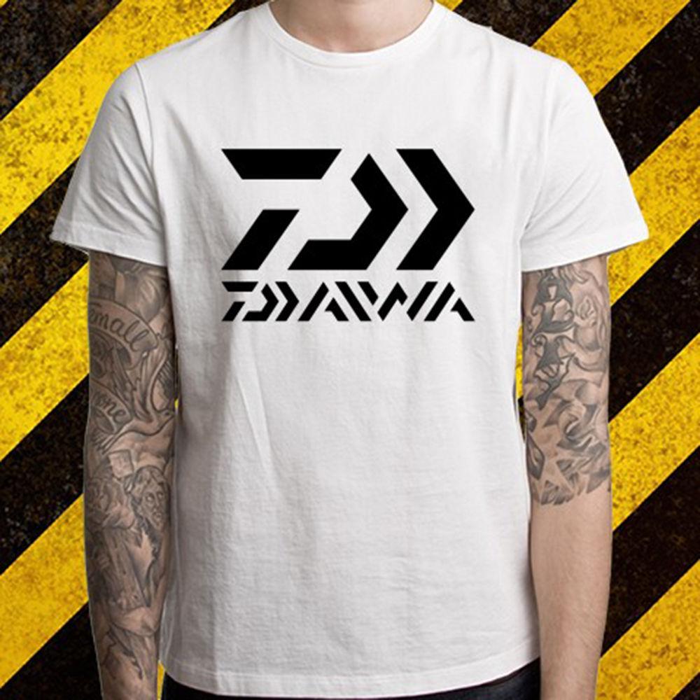 New Daiwa Fishinger Logo 남성용 화이트 티셔츠 S 사이즈 2XL에 양질 T 셔츠 여름용 2017 반소매 플러스 사이즈