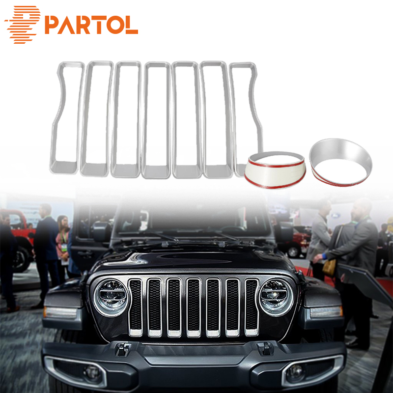 Partol Silver Tone Front Grille Grill Inserts Headlight Covers Trim Silver Tone ABS for Jeep wrangler