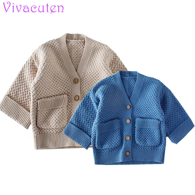 winter Children knit coat for Boys Solid Autumn Spring Cotton Kids Cardigan for Girls Casual Big Pockets Baby Girl Clothes
