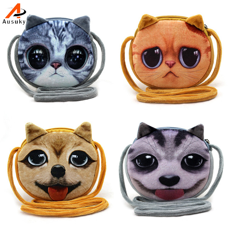 3D cute Kitty Plush Coin Purses For Childern Cat / Dogs animals pattern kids wallet Ladies mini wallet porte monnaie homme3D cute Kitty Plush Coin Purses For Childern Cat / Dogs animals pattern kids wallet Ladies mini wallet porte monnaie homme