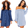 2017 new fashion women denim dress Sexy Off Shoulder Beach Dress Shirt long sleeve dress Elegant Party Club Dresses