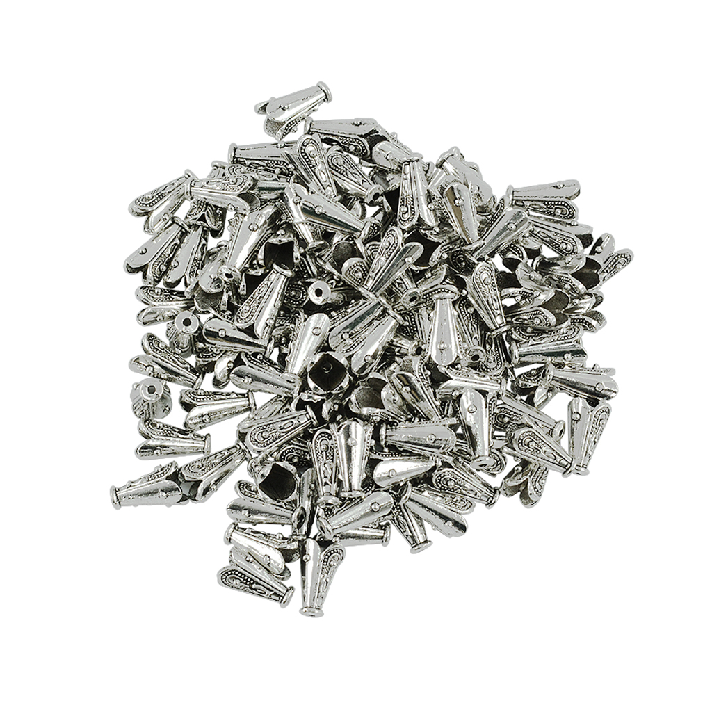 100pcs Tibetan Silver Flower Focal Beads Caps End Caps Fitting Chain & Tassel Jewelry Findings Diy Pendant Earring Components