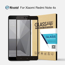 Nicotd for Xiaomi Redmi Note 4X Tempered Glass 5.5 inch Full Cover Screen Protector For Xiaomi Redmi Note 4X Glass film Package