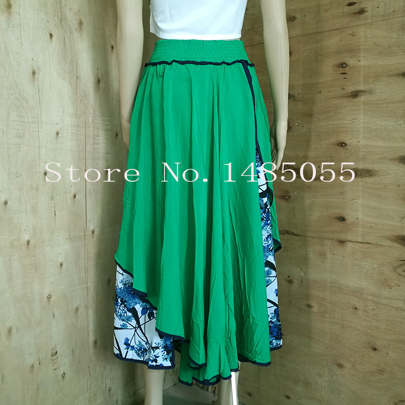 c9f8645cfe CJDNXI Women Summer Maxi Long Skirt High Waist Pleated Green Floral ...
