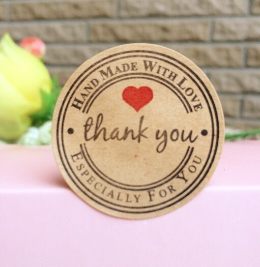 "100PCS/lot New Retro Kawaii HANDMADE ""Thank you""Round Kraft Seal sticker For handmade products Vintage ""Handmade with Love""Label"