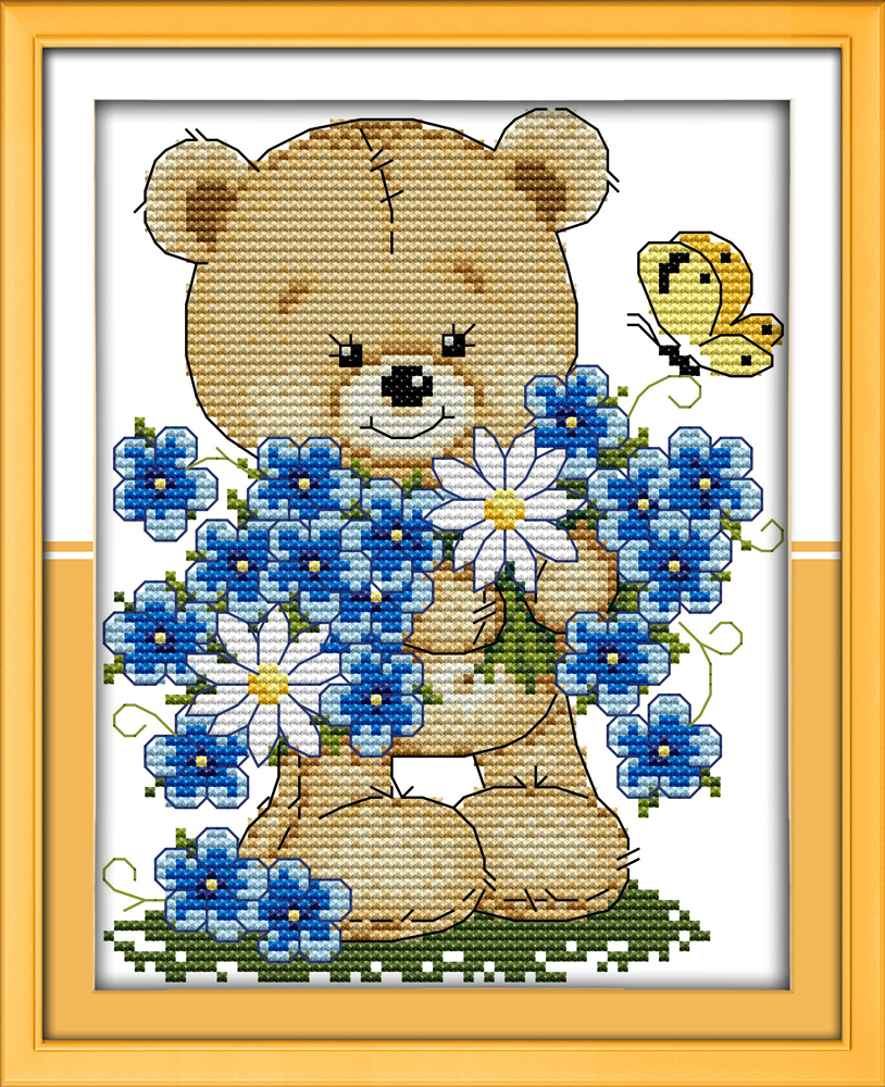 Joy sunday cartoon style Little bear with flowers beautiful cross stitch  patterns free counted needlecraft supplies - Online Get Cheap Wood Stove Supplies -Aliexpress.com Alibaba Group
