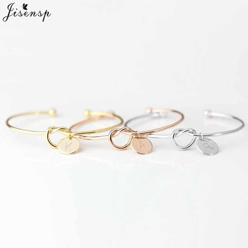 Jisensp ที่กำหนดเอง A-Z แผ่นจดหมายเริ่มต้น Knot สร้อยข้อมือกำไลข้อมือผู้หญิงเครื่องประดับเพื่อนเจ้าสาวของขวัญ Rose Gold กำไลข้อมือ