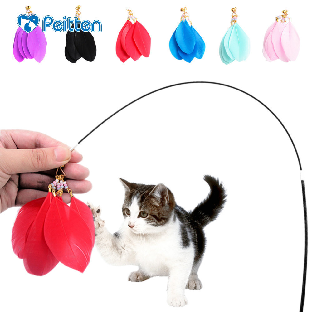 Multi Colors Wooden Retractable Cat Teaser Replaceable Head Cat Toys Small Pet Training Playing Toys with a Head Free Wholesale