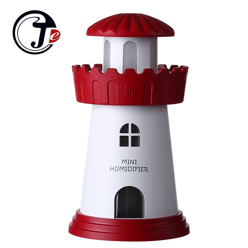 Fashion Lighthouse Led Ultrasonic Humidifier Mist Maker Fogger USB Humidifiers Air Freshener Aroma Diffuser Lamp Home Appliances new led usb humidifier mini aroma diffuser air humidifiers with aroma lamp aromatherapy diffuser mist maker with led light 220ml