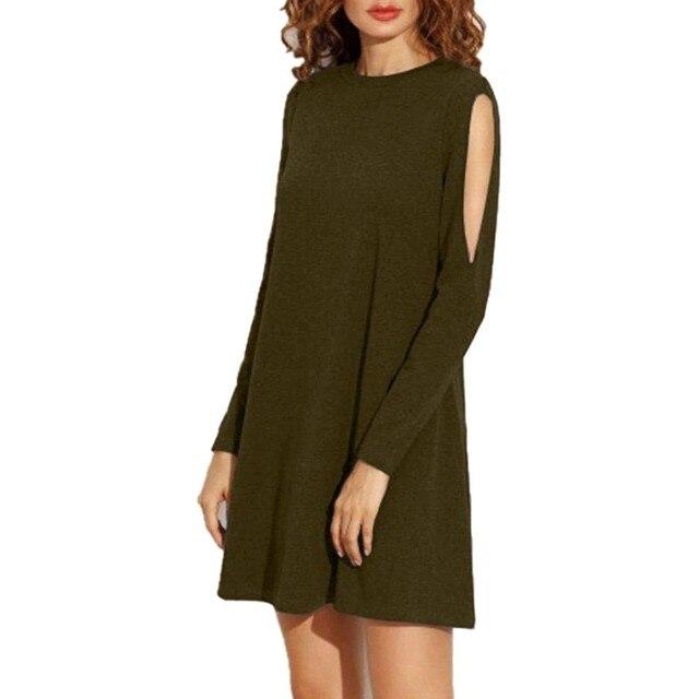 Women Off Shoulder Dress Loose Solid Color Long Sleeve Round Neck A Line  Boho T-shirt Dress Casual Ladies Dresses 53928da558