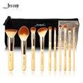 Jessup marca 10 pcs beleza de bambu pincéis de maquiagem profissional definida t136 & sacos cosméticos mulheres saco cb001