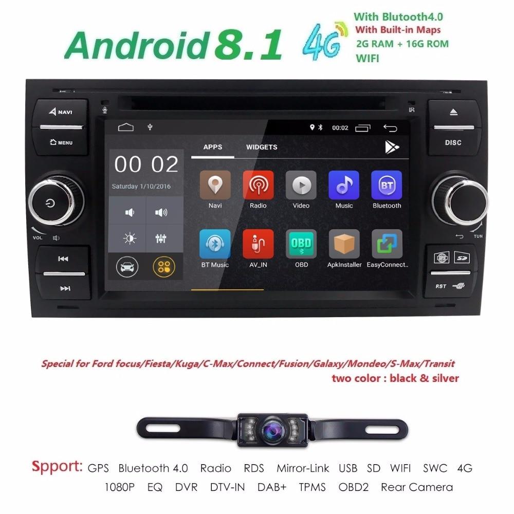 Чистый Android 8,1 автомобильный DVD gps Navi плеер стерео радио аудио 4G для Ford Focus 2 Mondeo S C Max Fiesta Galaxy подключения с камера
