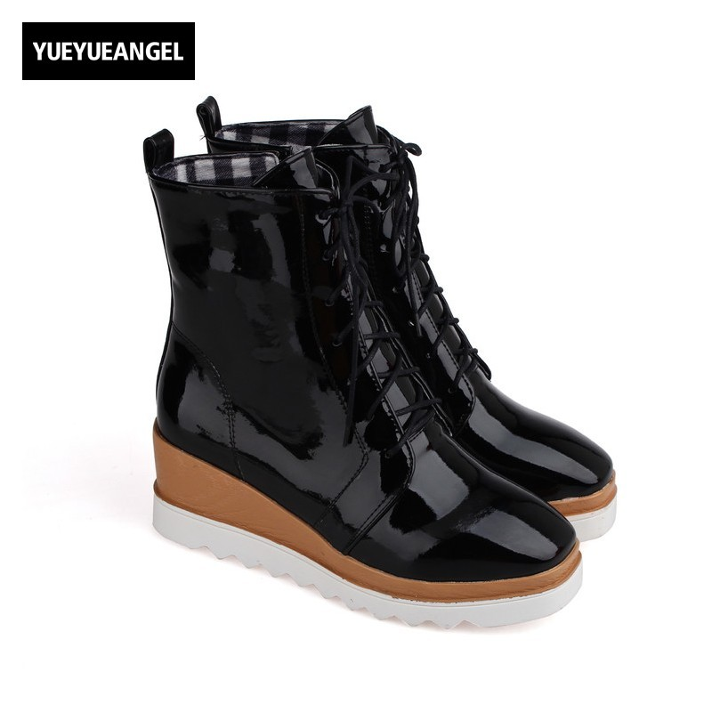 Fashion Women Wedges Heel Shoes Side Zipper Lace Up Round Toe Ankle Boots For Women Patent Leather High Heel Boots Free Shipping round toe autumn shoes high heel platform black casual lace up 2017 front ankle boots booties patent leather female ladies new