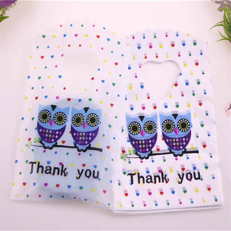 2018 New Design Wholesale 50pcs/lot 9*15cm Small Plastic Jewelry Accessories Packaging Bags With Owl Thank You Mini Gift Bags