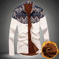 New Fashion Casual Printing Patchwork Long Sleeve Mens Shirts High Quality Velvet Luxury Chemise Homme Brand Business Male Shirt