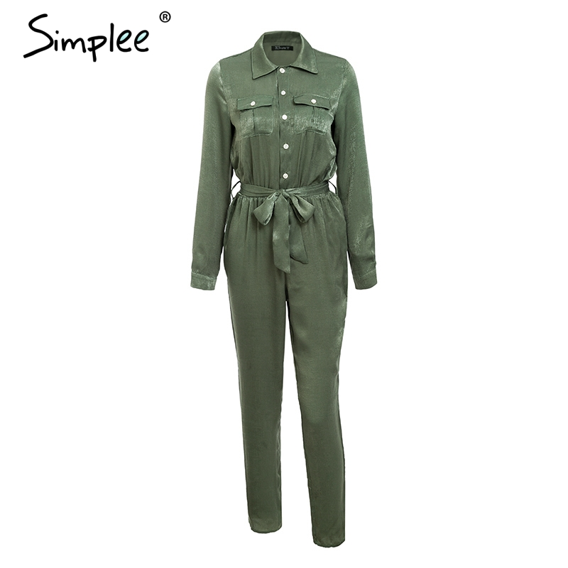 Simplee Elegant sashes buttons satin long sleeve women   jumpsuit   Summer pockets elastic waist romper Office ladies playsuit 2018