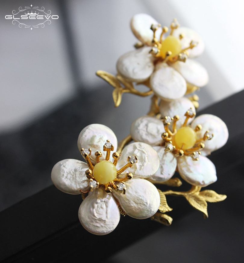 все цены на GLSEEVO Natural Fresh Water Baroque Pearl Flower Brooch Pins Amethyst Brooches Femme Bijoux For Women Dual Use Jewelry GO0081 онлайн