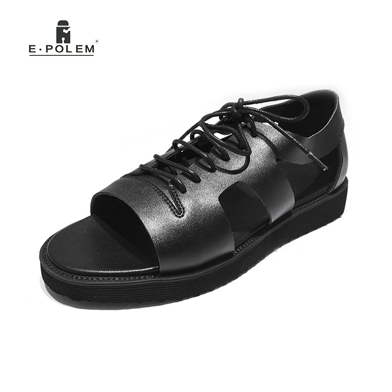 Summer Man Sandals Genuine Leather Shoes Open Toe Sandals Lace up Fashion Casual Cowhide Roman Sandals Beach Shoes Black summer shoes high quality of handmade genuine leather womens shoes open toe sandals cowhide leather comfortable flat sandals