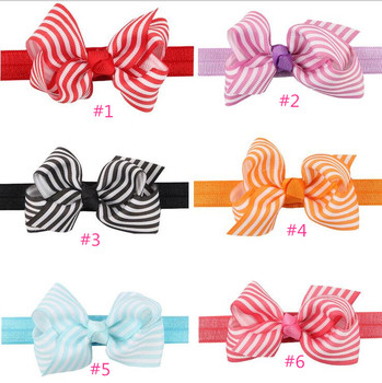 Free Shipping 100pcs/lot Ribbon headband  girl headband,Striped Ribbon Twisted Bow with Elastic Band