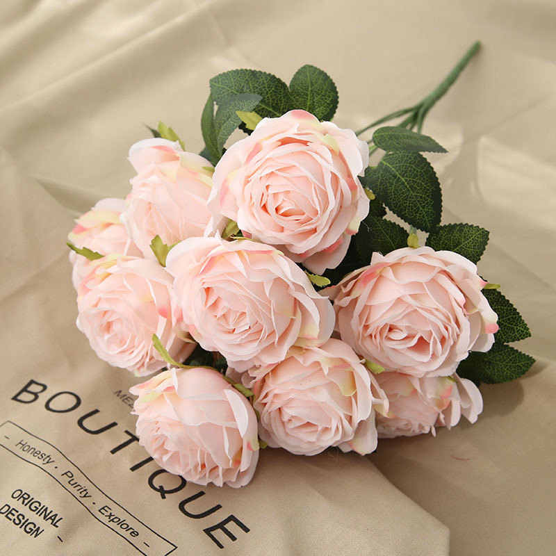 10Heads/bunch New French rose Artificial flower Home table flores Wedding Decoration silk fake flowers roses
