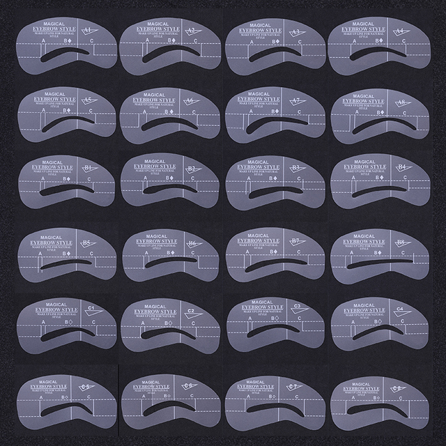 24 Pcs Popular Reusable Different Shape Artifact Eyebrows Shaped