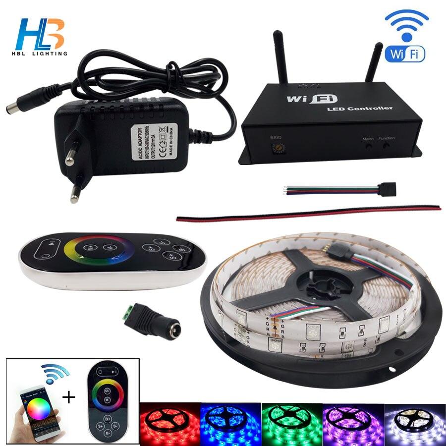 HBL 5050 LED bande 30 LED/m RGB LED bande lumineuse 5 M IP20 ruban non LED étanche avec contrôleur Wifi et adaptateur secteur ensemble complet