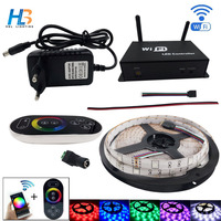 HBL 5050 LED Strip 30LED/m RGB led strip light 5M IP20 non waterproof LED ribbon with Wifi controller and power adapter full set