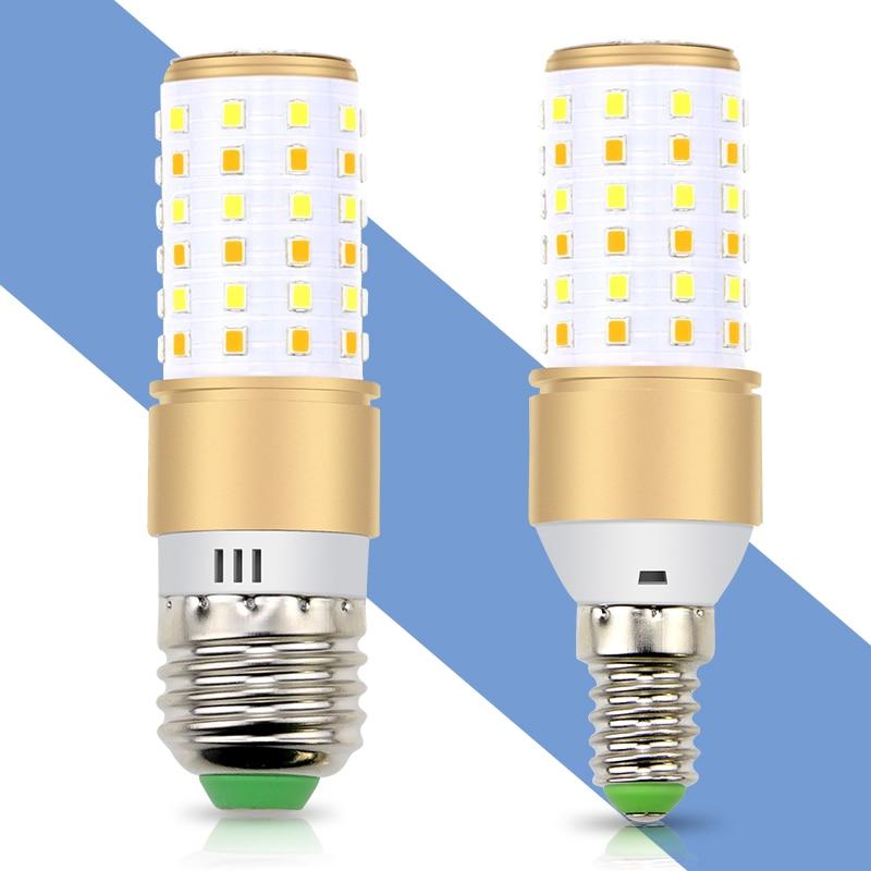 Smart IC E27 Led Lamp 220V E14 Led Corn Bulb 110V 3 Color Temperature Integrated Led Candle Light 2835SMD No Flicker Lights Bulb