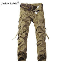 Men Cargo Pants Army Green Multi Pockets Combat Casual Cotton Loose Straight Trousers Plus Size Male