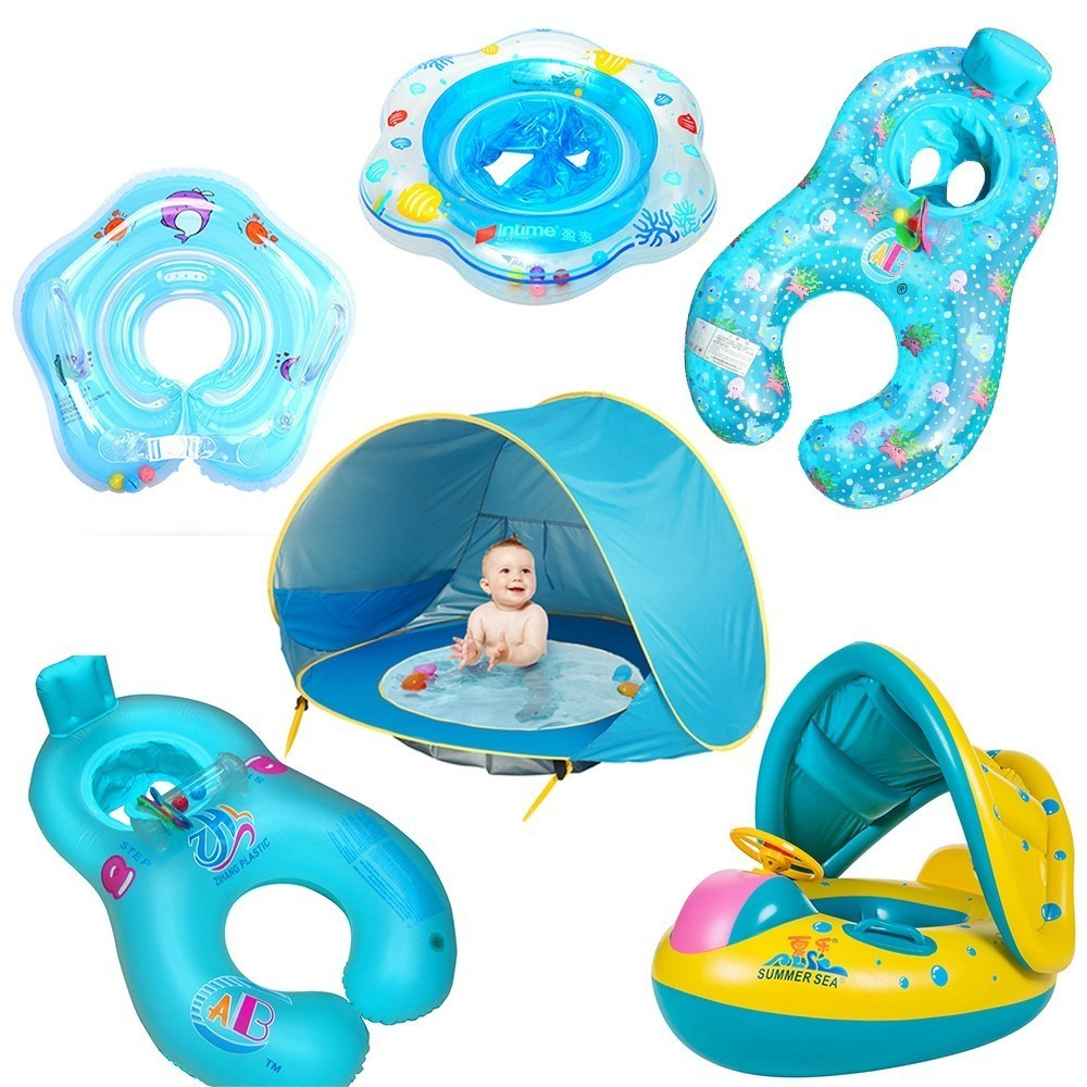 Mother Child Inflatable Ring Swimming Circle Baby Float Swimming Pool Accessories Piscina Summer Swimtrainer Circles Floaties